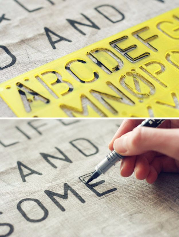 DIY Stencil Ideas - Stencil Text on Fabric - Cool and Easy Stenciling Tutorials For Making Handmade Wallpaper and Designs, Furniture Makeover Ideas and Crafty Modern Decor With Stencils - Rustic Farmhouse Paint Techniques and Step by Step Instructions for Using Stencil Art in Your Living Room, Bedroom, Bathroom and Crafts http://diyjoy.com/diy-stencil-ideas-projects