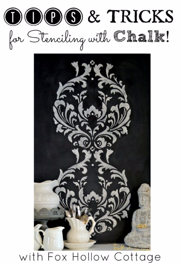 DIY Stencil Ideas - Stencil With Chalk - Cool and Easy Stenciling Tutorials For Making Handmade Wallpaper and Designs, Furniture Makeover Ideas and Crafty Modern Decor With Stencils - Rustic Farmhouse Paint Techniques and Step by Step Instructions for Using Stencil Art in Your Living Room, Bedroom, Bathroom and Crafts http://diyjoy.com/diy-stencil-ideas-projects