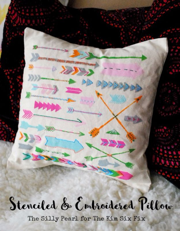 DIY Stencil Ideas - Stenciled and Embroidered Pillow - Cool and Easy Stenciling Tutorials For Making Handmade Wallpaper and Designs, Furniture Makeover Ideas and Crafty Modern Decor With Stencils - Rustic Farmhouse Paint Techniques and Step by Step Instructions for Using Stencil Art in Your Living Room, Bedroom, Bathroom and Crafts