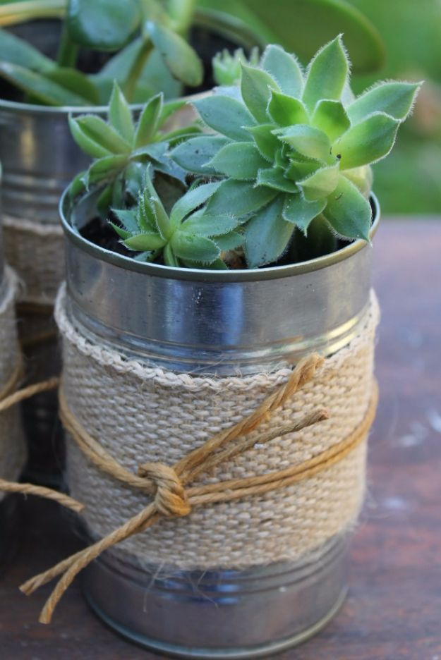 DIY Ideas With Old Tin Cans - Succulents In Recycled Tin Cans - Rustic Farmhouse Decor Tutorials and Projects Made With An Old Tin Can - Easy Vintage Shelving, Wall Art, Picture Frames and Home Decor for Kitchen, Living Room and Bathroom - Creative Country Crafts, Craft Room Storage, Silverware Holder, Rustic Wall Art and Accessories to Make and Sell http://diyjoy.com/diy-projects-tin-cans