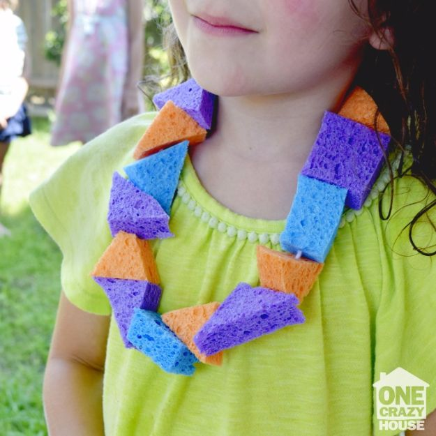 DIY Hacks for Summer - Summer Sponge Lei - Easy Projects to Try This Summer To Get Organized, Spend Time Outdoors, Play With The Kids, Stay Cool In The Heat - Tips and Tricks to Make Summertime Awesome - Crafts and Home Decor by DIY JOY