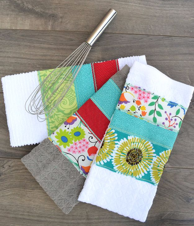 Best Quilting and Fabric Scraps Projects - Super Scrappy Dish Towel - Easy Ideas for Making DIY Home Decor, Homemade Gifts, Wall Art , Kitchen Accessories, Clothes and Fashion from Leftover Fabric Scrap and Quilt Pieces - Cute Do It Yourself Ideas for Birthday, Christmas, Baby and Friends http://diyjoy.com/quilting-scraps-projects
