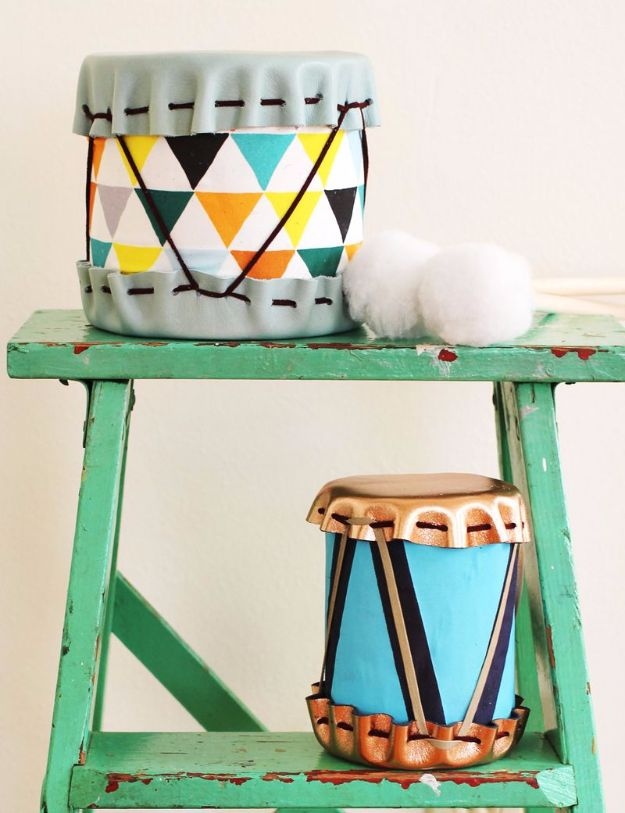 DIY Ideas With Old Tin Cans - Tin Can Drums - Rustic Farmhouse Decor Tutorials and Projects Made With An Old Tin Can - Easy Vintage Shelving, Wall Art, Picture Frames and Home Decor for Kitchen, Living Room and Bathroom - Creative Country Crafts, Craft Room Storage, Silverware Holder, Rustic Wall Art and Accessories to Make and Sell http://diyjoy.com/diy-projects-tin-cans
