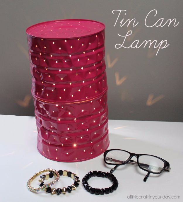 DIY Ideas With Old Tin Cans - Tin Can Lamp - Rustic Farmhouse Decor Tutorials and Projects Made With An Old Tin Can - Easy Vintage Shelving, Wall Art, Picture Frames and Home Decor for Kitchen, Living Room and Bathroom - Creative Country Crafts, Craft Room Storage, Silverware Holder, Rustic Wall Art and Accessories to Make and Sell http://diyjoy.com/diy-projects-tin-cans