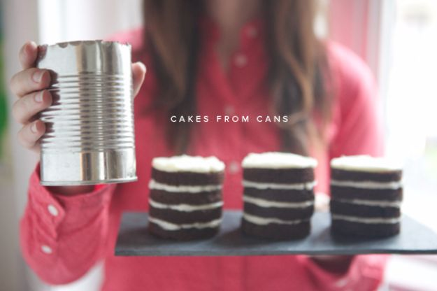 DIY Ideas With Old Tin Cans - Tin Can Mini Cakes - Rustic Farmhouse Decor Tutorials and Projects Made With An Old Tin Can - Easy Vintage Shelving, Wall Art, Picture Frames and Home Decor for Kitchen, Living Room and Bathroom - Creative Country Crafts, Craft Room Storage, Silverware Holder, Rustic Wall Art and Accessories to Make and Sell http://diyjoy.com/diy-projects-tin-cans
