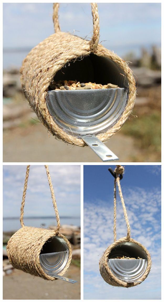 DIY Ideas With Old Tin Cans - Tin Can Rope Bird Feeder - Rustic Farmhouse Decor Tutorials and Projects Made With An Old Tin Can - Easy Vintage Shelving, Wall Art, Picture Frames and Home Decor for Kitchen, Living Room and Bathroom - Creative Country Crafts, Craft Room Storage, Silverware Holder, Rustic Wall Art and Accessories to Make and Sell