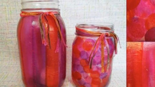 DIY Ideas for Kids To Make This Summer - Tissue Paper Mason Jars - Fun Crafts and Cool Projects for Boys and Girls To Make at Home - Easy and Cheap Do It Yourself Project Ideas With Paint, Glue, Paper, Glitter, Chalk and Things You Can Find Around The House - Creative Arts and Crafts Ideas for Children #summer #kidscrafts