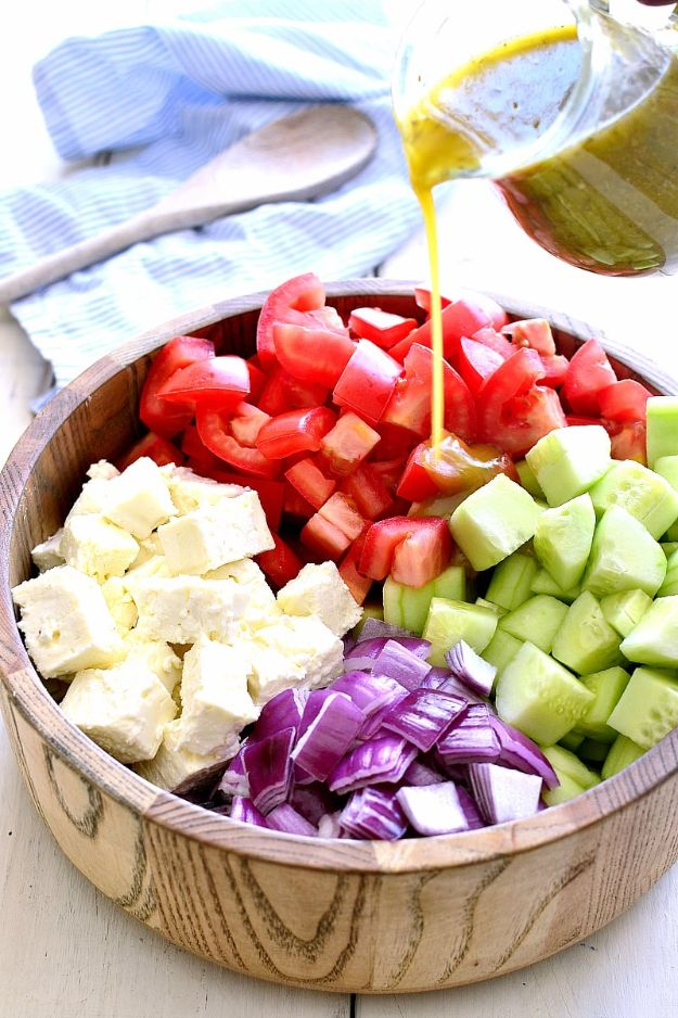 Best Recipe Ideas for Summer - Tomato Cucumber Feta Salad - Cool Salads, Easy Side Dishes, Recipes for Summer Foods and Dinner to Beat the Heat - Light and Healthy Ideas for Hot Summer Nights, Pool Parties and Picnics http://diyjoy.com/best-recipes-summer