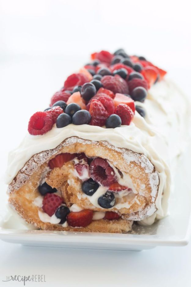 Best Recipe Ideas for Summer - Triple Berry Angel Food Cake Roll - Cool Salads, Easy Side Dishes, Recipes for Summer Foods and Dinner to Beat the Heat - Light and Healthy Ideas for Hot Summer Nights, Pool Parties and Picnics http://diyjoy.com/best-recipes-summer