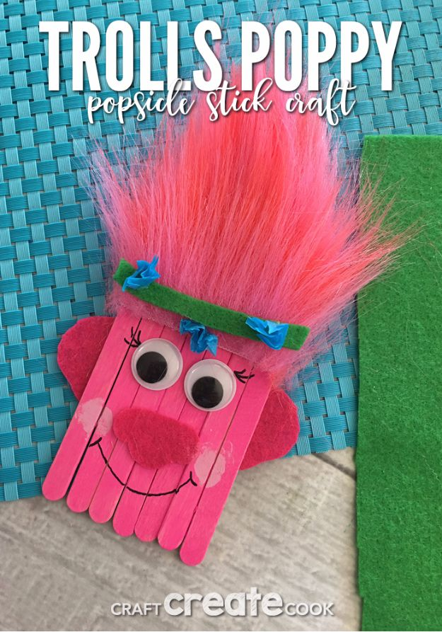 DIY Ideas for Kids To Make This Summer - Trolls Poppy Popsicle Stick Craft - Fun Crafts and Cool Projects for Boys and Girls To Make at Home - Easy and Cheap Do It Yourself Project Ideas With Paint, Glue, Paper, Glitter, Chalk and Things You Can Find Around The House - Creative Arts and Crafts Ideas for Children #summer #kidscrafts