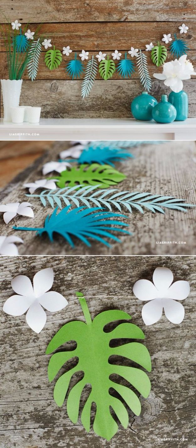 DIY Backyard Party Decor - Tropical Leaf Paper Garland - Cool Ideas for Decorations for Parties - Easy and Cheap Crafts for Summer Barbecues and Family Get Togethers, Swimming and Pool Party Fun - Step by Step Tutorials For Banners, Table Decor, Serving Ideas and Mason Jar Crafts http://diyjoy.com/diy-backyard-party-decor