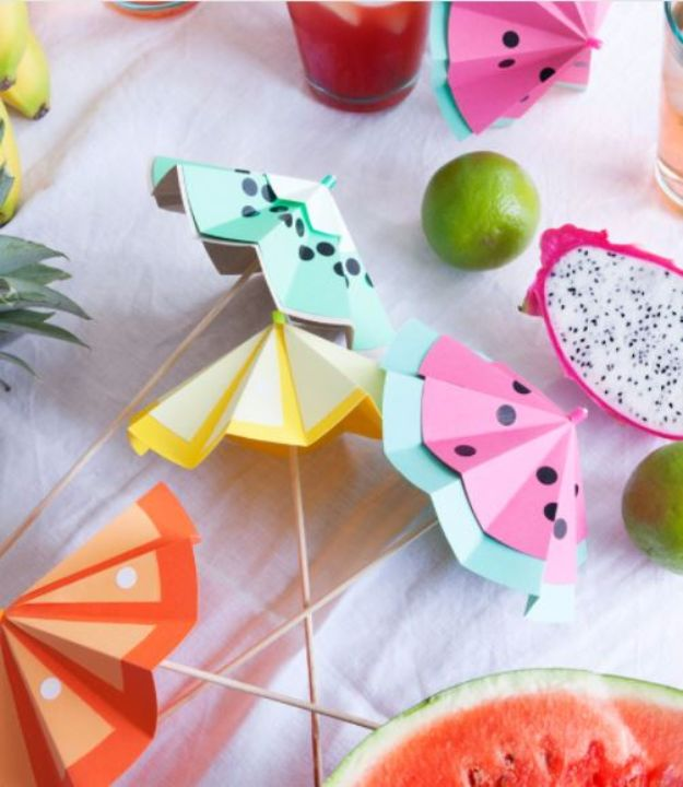 DIY Backyard Party Decor - Tutti Frutti Cocktail Umbrella - Cool Ideas for Decorations for Parties - Easy and Cheap Crafts for Summer Barbecues and Family Get Togethers, Swimming and Pool Party Fun - Step by Step Tutorials For Banners, Table Decor, Serving Ideas and Mason Jar Crafts r