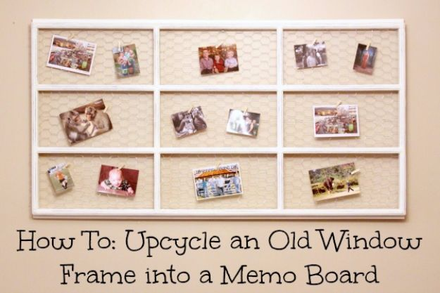 DIY Ideas With Old Windows - Upcycle An Old Window Frame Into A Memo Board - Rustic Farmhouse Decor Tutorials and Projects Made With An Old Window - Easy Vintage Shelving, Coffee Table, Towel Hook, Wall Art, Picture Frames and Home Decor for Kitchen, Living Room and Bathroom - Creative Country Crafts, Seating, Furniture, Patio Decor and Rustic Wall Art and Accessories to Make and Sell http://diyjoy.com/diy-projects-old-windows