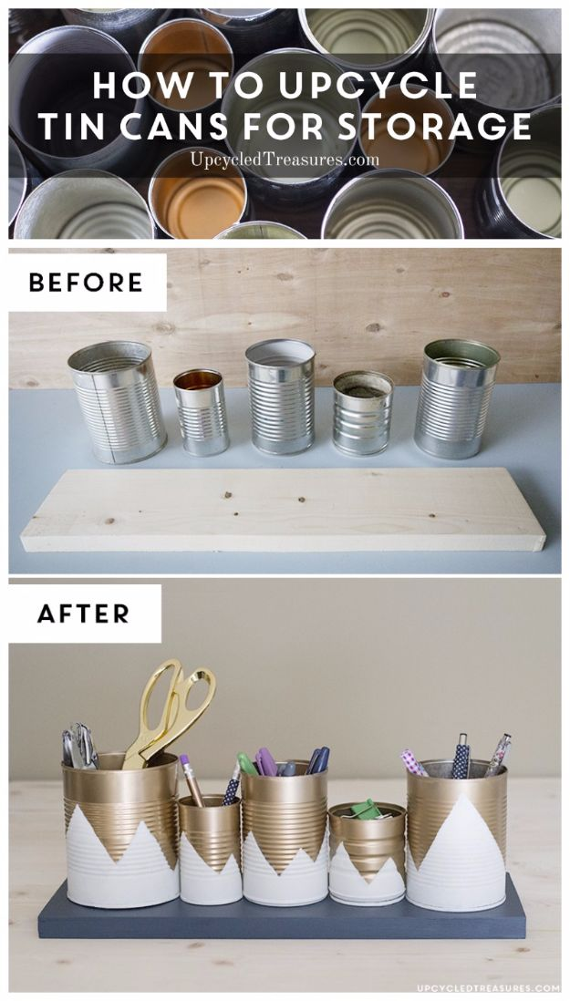 DIY Ideas With Old Tin Cans - Upcycled Tin Can Organizer - Rustic Farmhouse Decor Tutorials and Projects Made With An Old Tin Can - Easy Vintage Shelving, Wall Art, Picture Frames and Home Decor for Kitchen, Living Room and Bathroom - Creative Country Crafts, Craft Room Storage, Silverware Holder, Rustic Wall Art and Accessories to Make and Sell http://diyjoy.com/diy-projects-tin-cans
