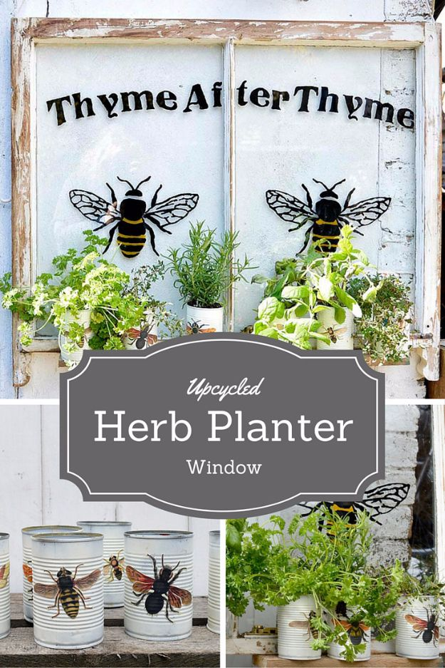 DIY Ideas With Old Windows - Upcycled Window Herb Planter - Rustic Farmhouse Decor Tutorials and Projects Made With An Old Window - Easy Vintage Shelving, Coffee Table, Towel Hook, Wall Art, Picture Frames and Home Decor for Kitchen, Living Room and Bathroom - Creative Country Crafts, Seating, Furniture, Patio Decor and Rustic Wall Art and Accessories to Make and Sell http://diyjoy.com/diy-projects-old-windows