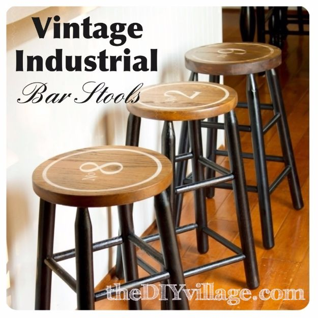 DIY Stencil Ideas - Vintage Industrial Bar Stools - Cool and Easy Stenciling Tutorials For Making Handmade Wallpaper and Designs, Furniture Makeover Ideas and Crafty Modern Decor With Stencils - Rustic Farmhouse Paint Techniques and Step by Step Instructions for Using Stencil Art in Your Living Room, Bedroom, Bathroom and Crafts http://diyjoy.com/diy-stencil-ideas-projects