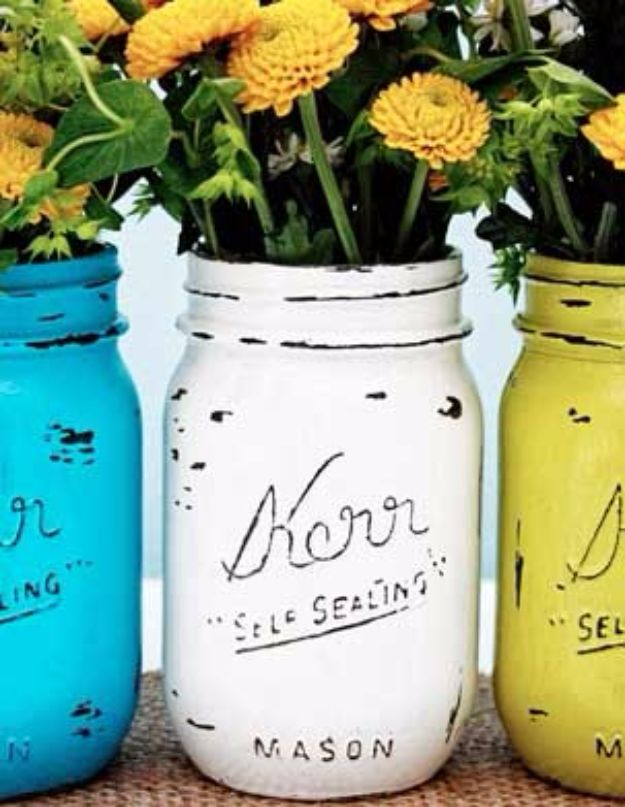 DIY Backyard Party Decor - Vintage Inspired Painted Mason Jars - Cool Ideas for Decorations for Parties - Easy and Cheap Crafts for Summer Barbecues and Family Get Togethers, Swimming and Pool Party Fun - Step by Step Tutorials For Banners, Table Decor, Serving Ideas and Mason Jar Crafts http://diyjoy.com/diy-backyard-party-decor