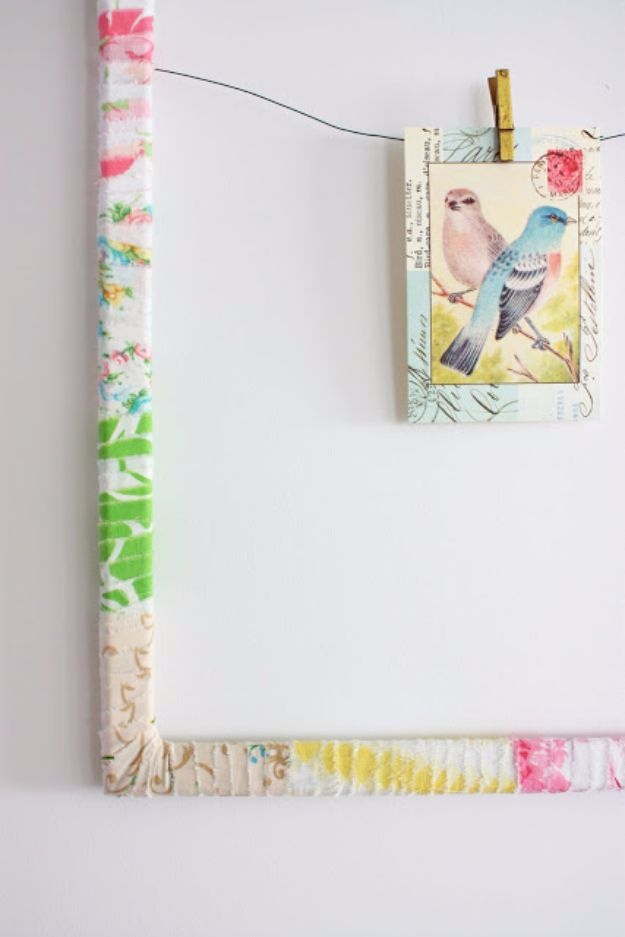 Best Quilting and Fabric Scraps Projects - Vintage Sheet Wrapped Frame - Easy Ideas for Making DIY Home Decor, Homemade Gifts, Wall Art , Kitchen Accessories, Clothes and Fashion from Leftover Fabric Scrap and Quilt Pieces - Cute Do It Yourself Ideas for Birthday, Christmas, Baby and Friends http://diyjoy.com/quilting-scraps-projects