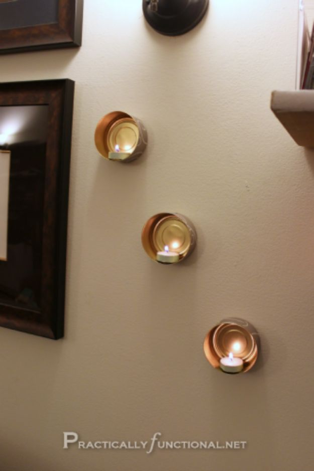 DIY Ideas With Old Tin Cans - Wall Mounted Tin Can Tea Lights - Rustic Farmhouse Decor Tutorials and Projects Made With An Old Tin Can - Easy Vintage Shelving, Wall Art, Picture Frames and Home Decor for Kitchen, Living Room and Bathroom - Creative Country Crafts, Craft Room Storage, Silverware Holder, Rustic Wall Art and Accessories to Make and Sell http://diyjoy.com/diy-projects-tin-cans