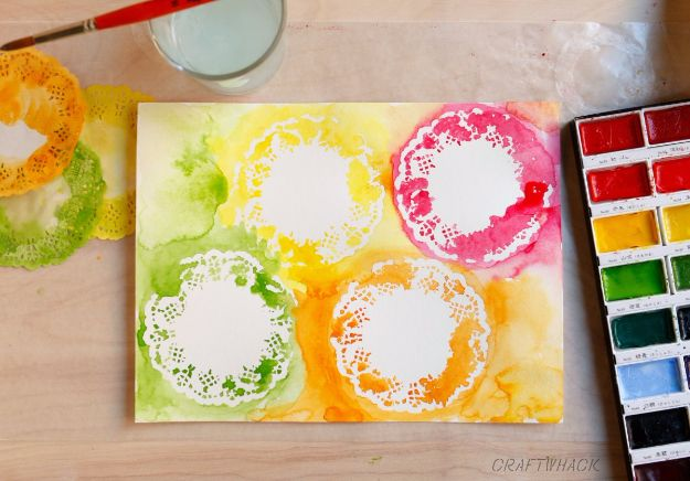 DIY Stencil Ideas - Watercolor Stencils And Doilies - Cool and Easy Stenciling Tutorials For Making Handmade Wallpaper and Designs, Furniture Makeover Ideas and Crafty Modern Decor With Stencils - Rustic Farmhouse Paint Techniques and Step by Step Instructions for Using Stencil Art in Your Living Room, Bedroom, Bathroom and Crafts http://diyjoy.com/diy-stencil-ideas-projects