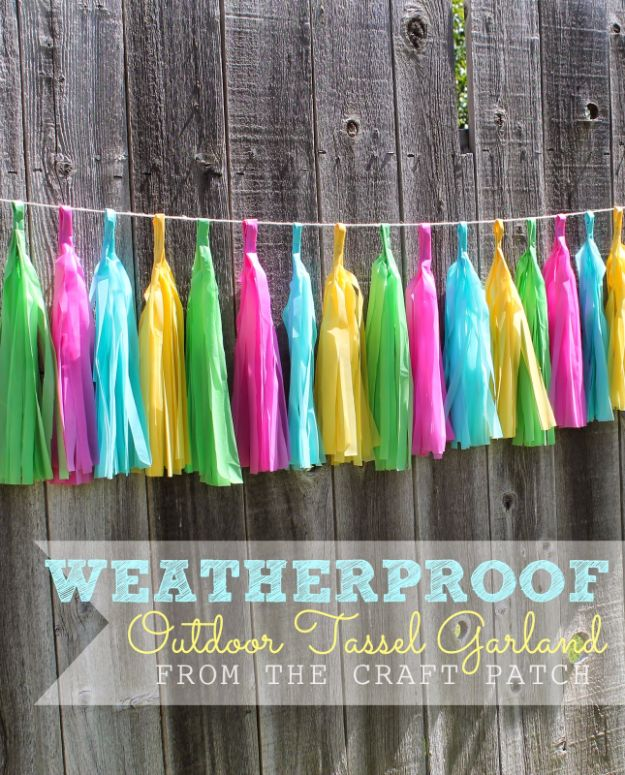 DIY Backyard Party Decor - Weatherproof Outdoor Tassel Garland - Cool Ideas for Decorations for Parties - Easy and Cheap Crafts for Summer Barbecues and Family Get Togethers, Swimming and Pool Party Fun - Step by Step Tutorials For Banners, Table Decor, Serving Ideas and Mason Jar Crafts http://diyjoy.com/diy-backyard-party-decor
