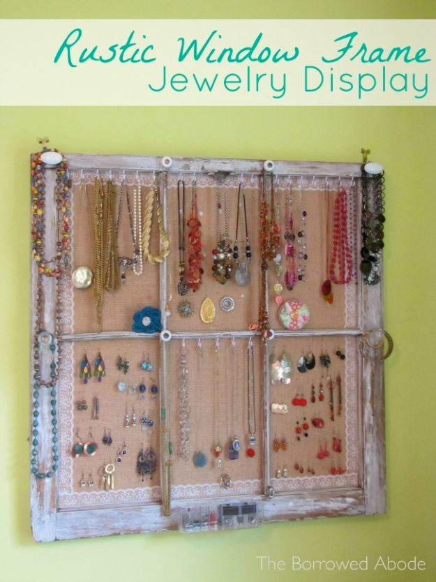 DIY Ideas With Old Windows - Window Frame Jewelry Display - Rustic Farmhouse Decor Tutorials and Projects Made With An Old Window - Easy Vintage Shelving, Coffee Table, Towel Hook, Wall Art, Picture Frames and Home Decor for Kitchen, Living Room and Bathroom - Creative Country Crafts, Seating, Furniture, Patio Decor and Rustic Wall Art and Accessories to Make and Sell http://diyjoy.com/diy-projects-old-windows