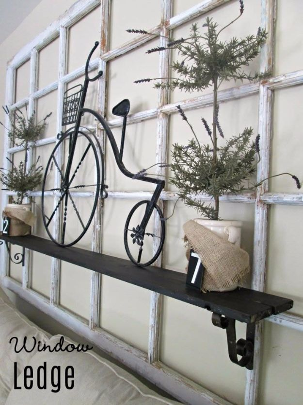 DIY Ideas With Old Windows - Window Ledge - Rustic Farmhouse Decor Tutorials and Projects Made With An Old Window - Easy Vintage Shelving, Coffee Table, Towel Hook, Wall Art, Picture Frames and Home Decor for Kitchen, Living Room and Bathroom - Creative Country Crafts, Seating, Furniture, Patio Decor and Rustic Wall Art and Accessories to Make and Sell http://diyjoy.com/diy-projects-old-windows