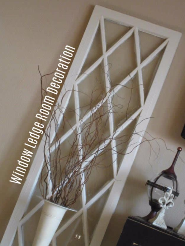 DIY Ideas With Old Windows - Window Living Room Decoration - Rustic Farmhouse Decor Tutorials and Projects Made With An Old Window - Easy Vintage Shelving, Coffee Table, Towel Hook, Wall Art, Picture Frames and Home Decor for Kitchen, Living Room and Bathroom - Creative Country Crafts, Seating, Furniture, Patio Decor and Rustic Wall Art and Accessories to Make and Sell http://diyjoy.com/diy-projects-old-windows