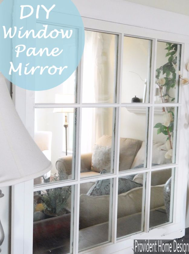 DIY Ideas With Old Windows - Window Pane Mirror - Rustic Farmhouse Decor Tutorials and Projects Made With An Old Window - Easy Vintage Shelving, Coffee Table, Towel Hook, Wall Art, Picture Frames and Home Decor for Kitchen, Living Room and Bathroom - Creative Country Crafts, Seating, Furniture, Patio Decor and Rustic Wall Art and Accessories to Make and Sell http://diyjoy.com/diy-projects-old-windows