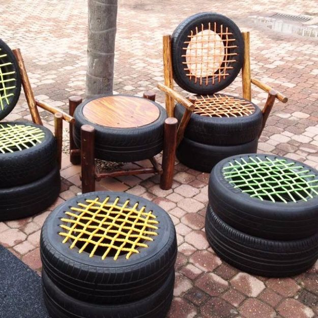 DIY Ideas With Old Tires - Woven Rope Tire Seating - Rustic Farmhouse Decor Tutorials and Projects Made With An Old Tire - Easy Vintage Shelving, Wall Art, Swing, Ottoman, Seating, Furniture, Gardeing Ideas and Home Decor for Kitchen, Living Room, Bathroom and Backyard - Creative Country Crafts, Rustic Wall Art and Accessories to Make and Sell