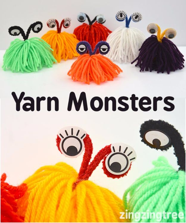 DIY Ideas for Kids To Make This Summer - Yarn Monsters - Fun Crafts and Cool Projects for Boys and Girls To Make at Home - Easy and Cheap Do It Yourself Project Ideas With Paint, Glue, Paper, Glitter, Chalk and Things You Can Find Around The House - Creative Arts and Crafts Ideas for Children #summer #kidscrafts