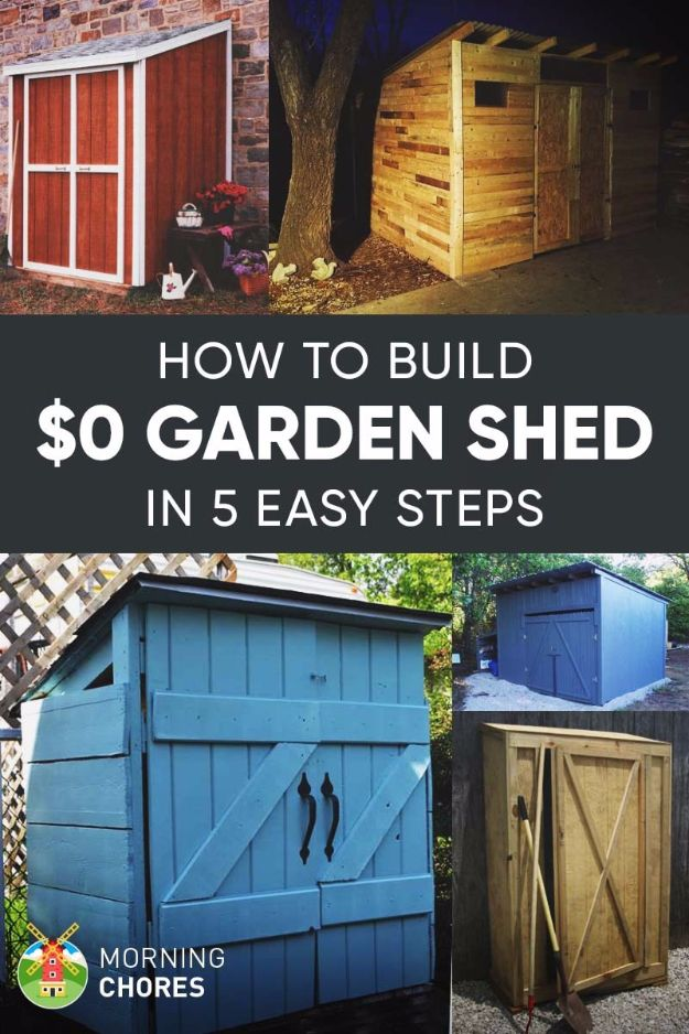 DIY Storage Sheds and Plans - $0 Garden Shed - Cool and Easy Storage Shed Makeovers, Cheap Ideas to Build This Weekend, Basic Woodworking Projects to Add Extra Storage Space to Your Home or Small Backyard - How To Build A Shed With Pallets - Step by Step Tutorials and Instructions http://diyjoy.com/diy-storage-sheds-plans