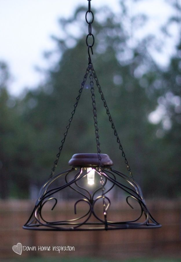 DIY Outdoor Lighting Ideas - $10 and 10 Minute Solar Chandelier - Do It Yourself Lighting Ideas for the Backyard, Patio, Porch and Pool - Lights, Chandeliers, Lamps and String Lights for Your Outdoors - Dining Table and Chair Lighting, Overhead, Sconces and Weatherproof Projects #diy #lighting
