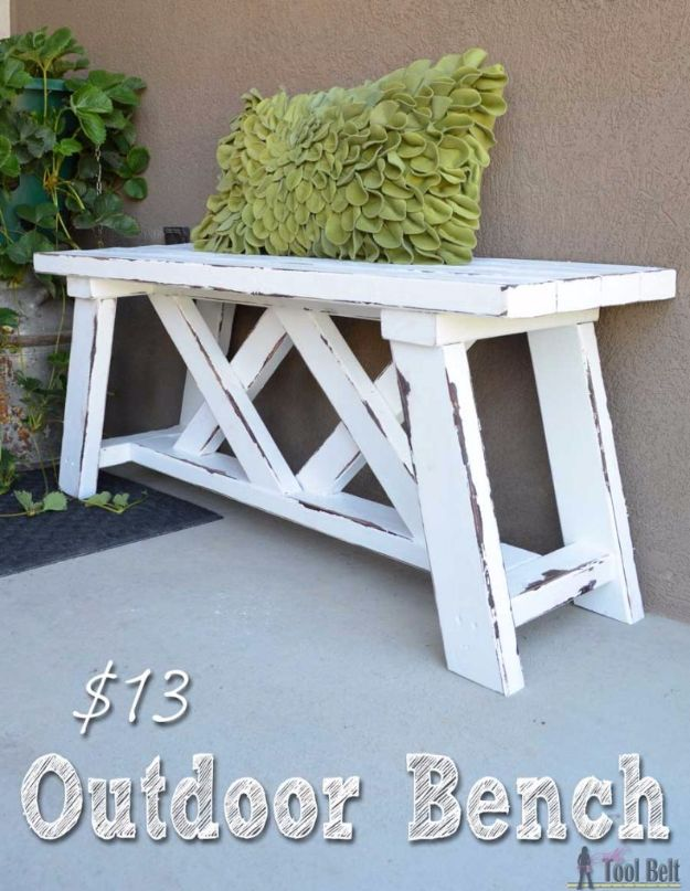 DIY Porch and Patio Ideas - $13 Outdoor Bench - Decor Projects and Furniture Tutorials You Can Build for the Outdoors - Lights and Lighting, Mason Jar Crafts, Rocking Chairs, Wreaths, Swings, Bench, Cushions, Chairs, Daybeds and Pallet Signs