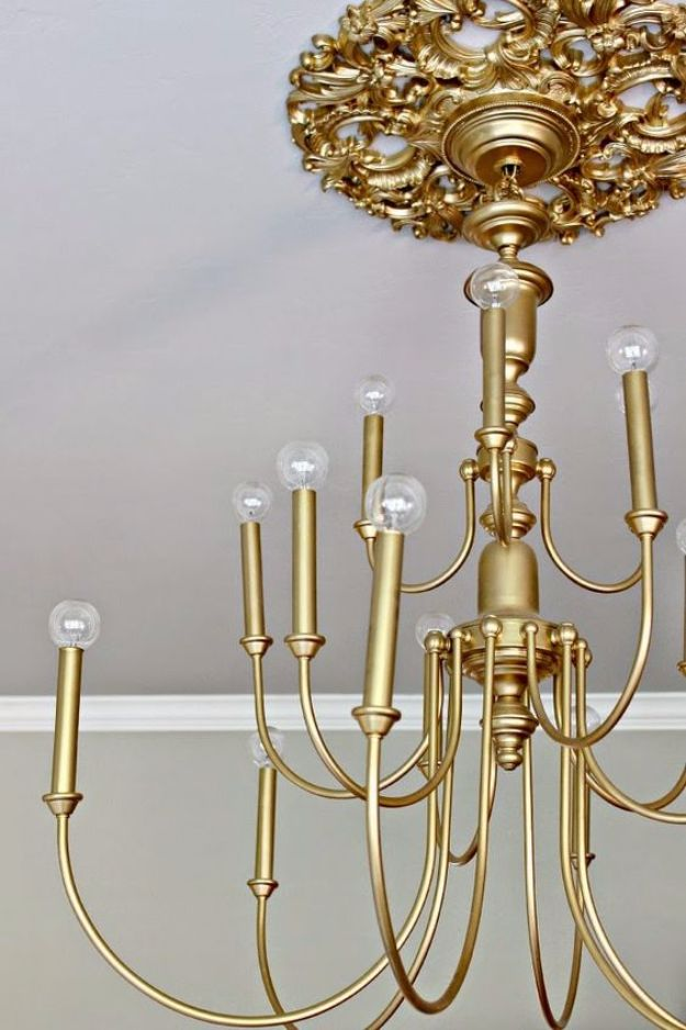 DIY Chandelier Makeovers - $20 Brass Chandelier Makeover - Easy Ideas for Old Brass, Crystal and Ugly Gold Chandelier Makeover - Cool Before and After Projects for Chandeliers - Farmhouse, Shabby Chic and Vintage Home Decor on A Budget - Living Room, Bedroom and Dining Room Idea DIY Joy Projects and Crafts