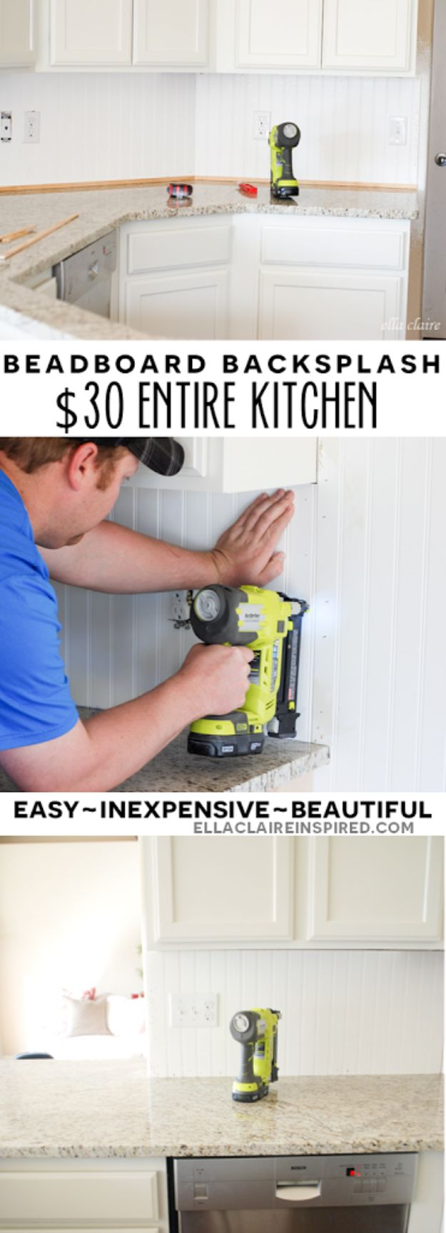 DIY Home Improvement Projects On A Budget - $30 Beadboard Kitchen Backsplash - Cool Home Improvement Hacks, Easy and Cheap Do It Yourself Tutorials for Updating and Renovating Your House - Home Decor Tips and Tricks, Remodeling and Decorating Hacks - DIY Projects