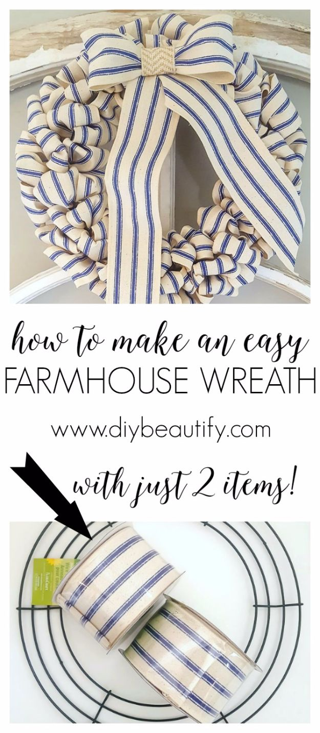 Farmhouse Decor to Make And Sell - 30-Minute Farmhouse Wreath for Under $10 - Easy DIY Home Decor and Rustic Craft Ideas - Step by Step Country Crafts, Farmhouse Decor To Make and Sell on Etsy and at Craft Fairs - Tutorials and Instructions for Creative Ways to Make Money - Best Vintage Farmhouse DIY For Living Room, Bedroom, Walls and Gifts #diydecor