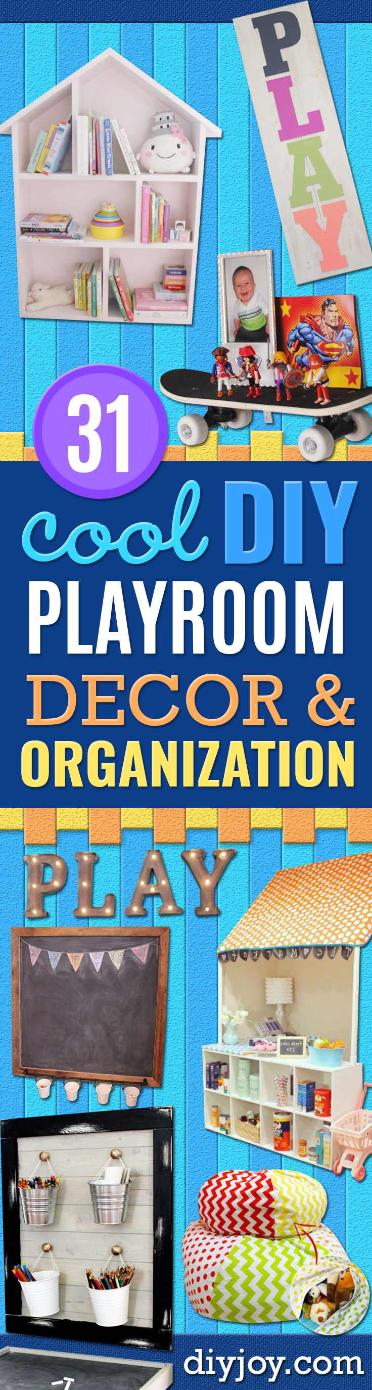 DIY Playroom Ideas and Furniture - Easy Play Room Storage, Furniture Ideas for Kids, Playtime Rugs and Activity Mats, Shelving, Toy Boxes and Wall Art - Cute DIY Room Decor for Boys and Girls - Fun Crafts with Step by Step Tutorials and Instructions http://diyjoy.com/diy-playroom-ideas