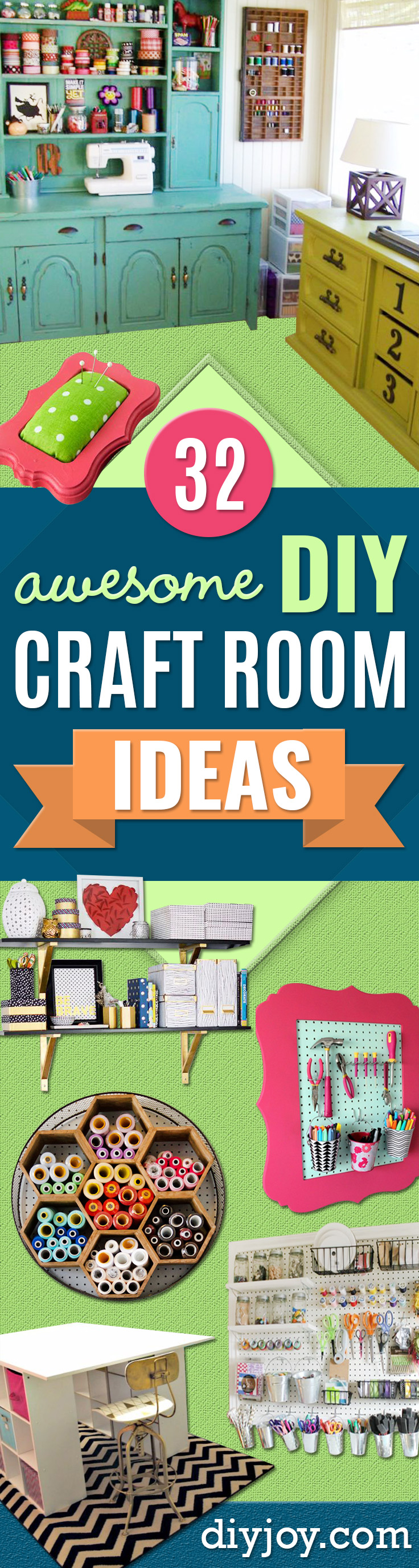 DIY Craft Room Ideas and Craft Room Organization Projects - Cool Ideas for Do It Yourself Craft Storage, Craft Room Decor and Organizing Project Ideas - fabric, paper, pens, creative tools, crafts supplies, shelves and sewing notions http://diyjoy.com/craft-room-organizing-ideas
