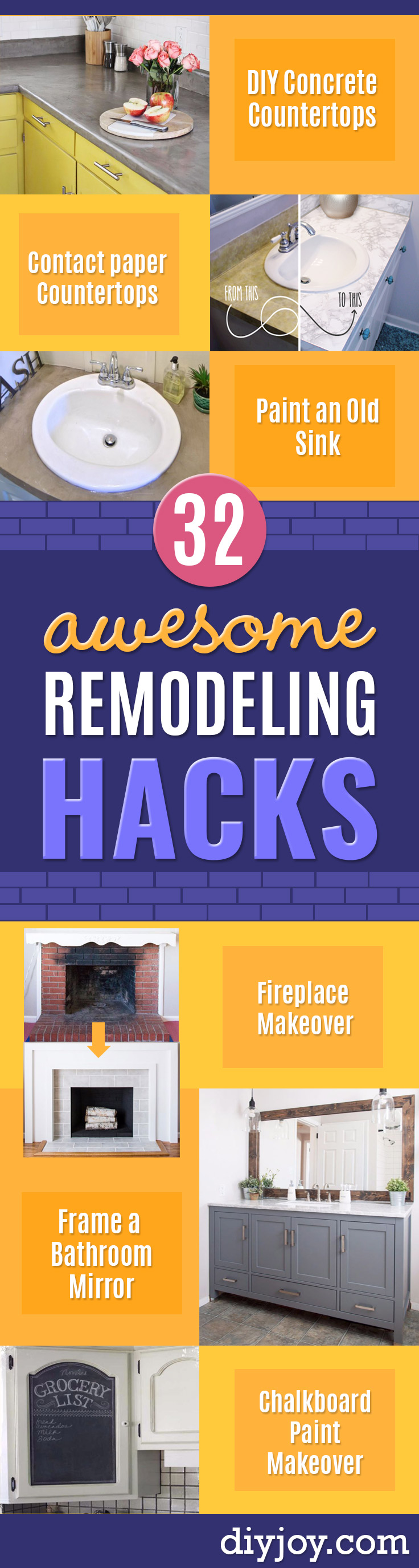 DIY Remodeling Hacks - Quick and Easy Home Repair Tips and Tricks - Cool Hacks for DIY Home Improvement Ideas - Cheap Ways To Fix Bathroom, Bedroom, Kitchen, Outdoor, Living Room and Lighting - Creative Renovation on A Budget - DIY Projects and Crafts by DIY JOY http://diyjoy.com/diy-remodeling-hacks