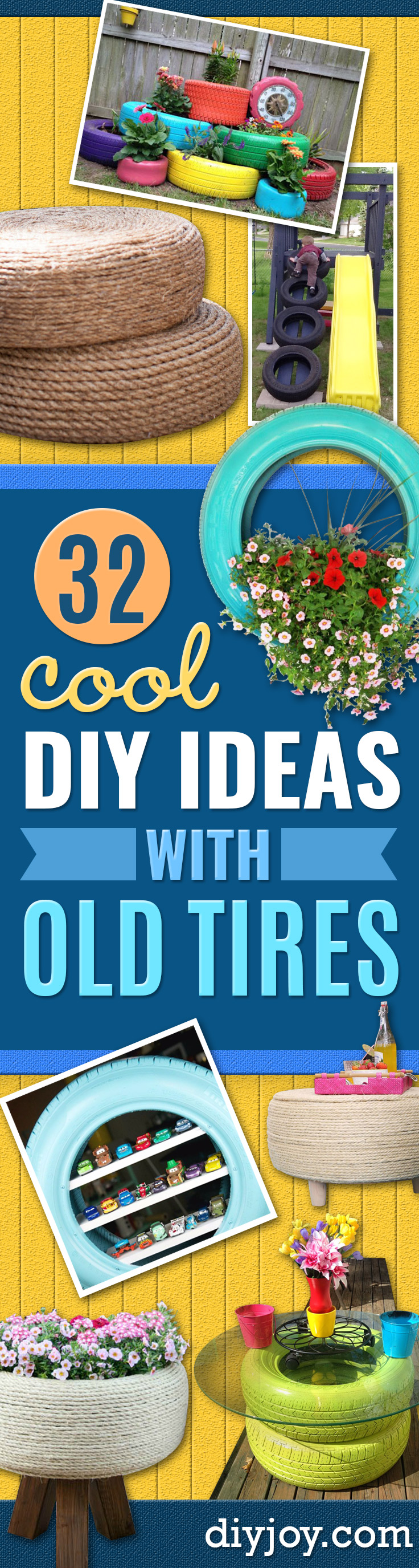DIY Ideas With Old Tires - Rustic Farmhouse Decor Tutorials and Projects Made With An Old Tire - Easy Vintage Shelving, Wall Art, Swing, Ottoman, Seating, Furniture, Gardeing Ideas and Home Decor for Kitchen, Living Room, Bathroom and Backyard - Creative Country Crafts, Rustic Wall Art and Accessories to Make and Sell http://diyjoy.com/diy-projects-old-tires