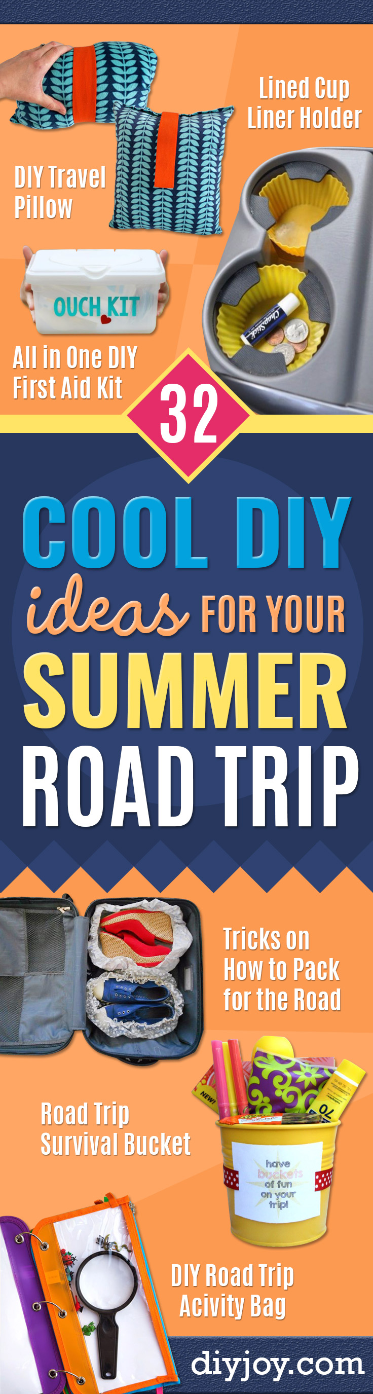 Best DIY Ideas for a Summer Road Trip - Road Trip Snacks - Cool Crafts and Easy Projects to Make For Road Trips in the Car - Fun Crafts to Make for Vacation - Creative Ideas for Making Cheap Travel Ideas With Creative Money Saving Tips
