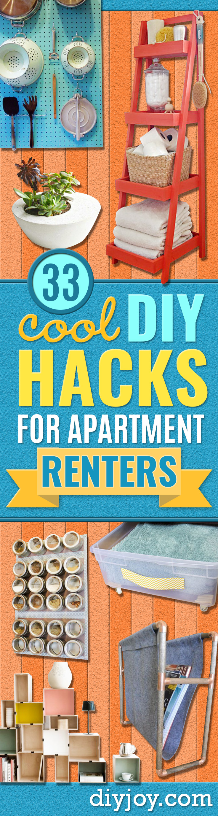 DIY Hacks for Renters - Easy Ways to Decorate and Fix Things on Rental Property - Decorate Walls, Cheap Ideas for Making an Apartment, Small Space or Tiny Closet Work For You - Quick Hacks and DIY Projects on A Budget - Step by Step Tutorials and Instructions for Simple Home Decor http://diyjoy.com/diy-hacks-renters