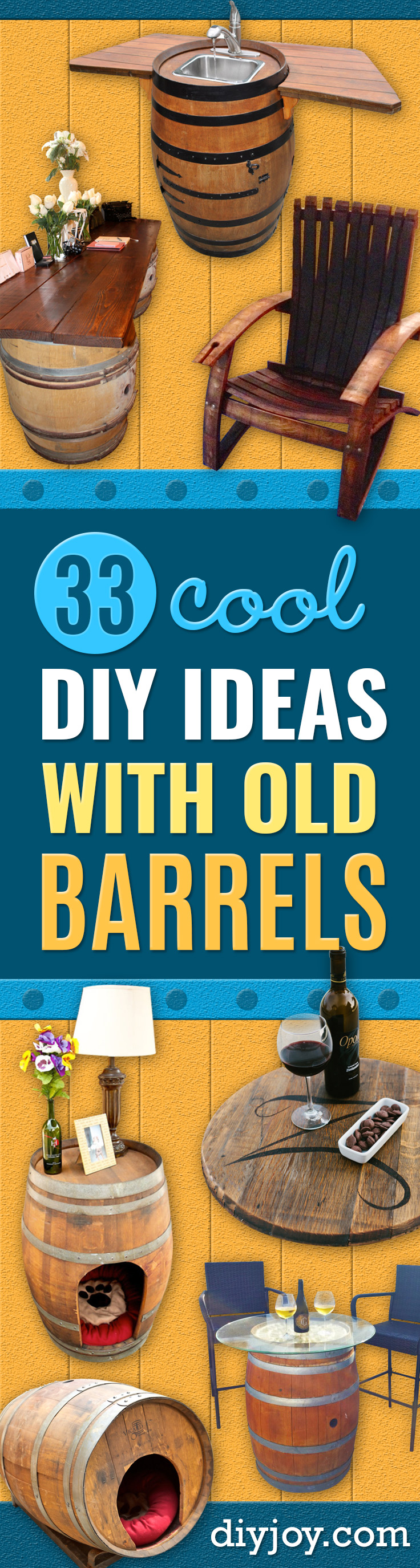 DIY Ideas With Old Barrels - Rustic Farmhouse Decor Tutorials and Projects Made With a Barrel - Easy Vintage Home Decor for Kitchen, Living Room and Bathroom - Creative Country Crafts, Dog Beds, Seating, Furniture, Patio Decor and Rustic Wall Art and Accessories to Make and Sell tp://diyjoy.com/diy-projects-old-barrels