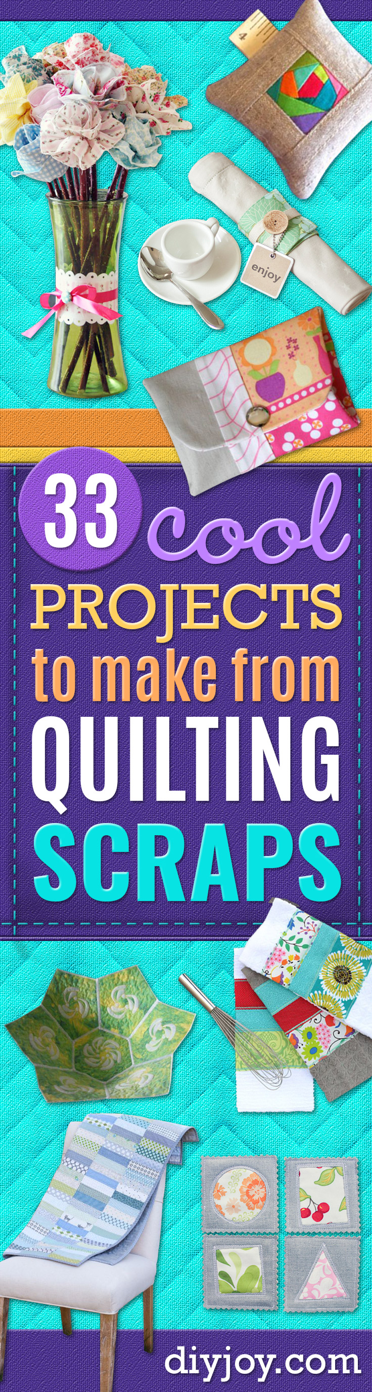 Quilting scrap ideas and Fabric Scraps Crafts Projects - Easy Ideas for Making DIY Home Decor, Homemade Gifts, Wall Art , Kitchen Accessories, Clothes and Fashion from Leftover Fabric Scrap and Quilt Pieces - Cute Do It Yourself Ideas for Birthday, Christmas, Baby