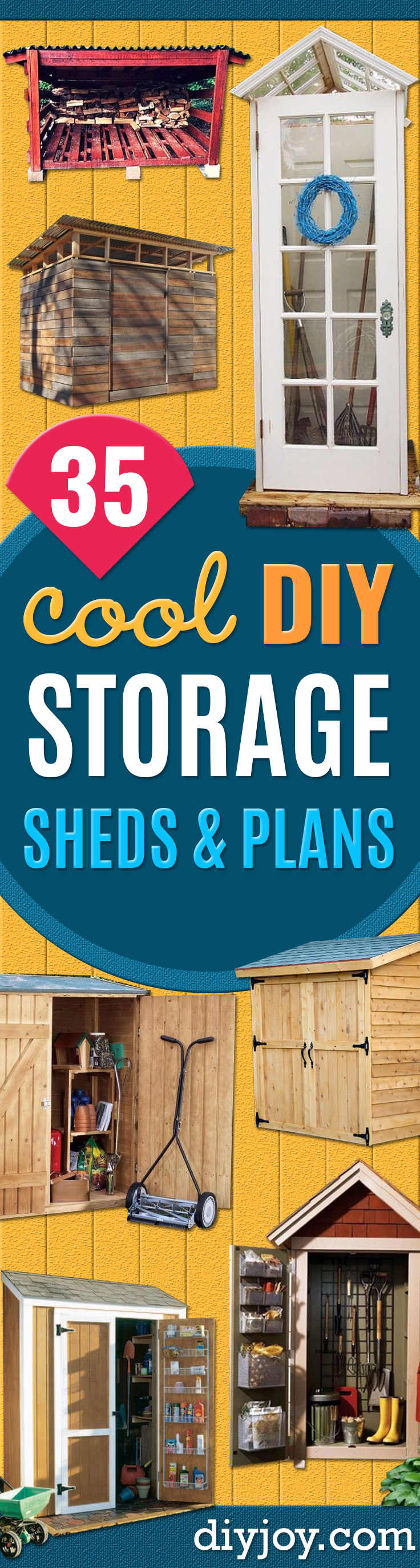 DIY Storage Sheds and Plans - Cool and Easy Storage Shed Makeovers, Cheap Ideas to Build This Weekend, Basic Woodworking Projects to Add Extra Storage Space to Your Home or Small Backyard - How To Build A Shed With Pallets - Step by Step Tutorials and Instructions http://diyjoy.com/diy-storage-sheds-plans