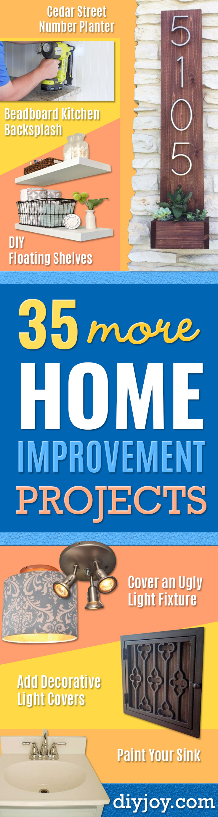 DIY Home Improvement Projects On A Budget - Cool Home Improvement Hacks, Easy and Cheap Do It Yourself Tutorials for Updating and Renovating Your House - Home Decor Tips and Tricks, Remodeling and Decorating Hacks - DIY Projects and Crafts by DIY JOY http://diyjoy.com/diy-home-improvement-ideas-budget