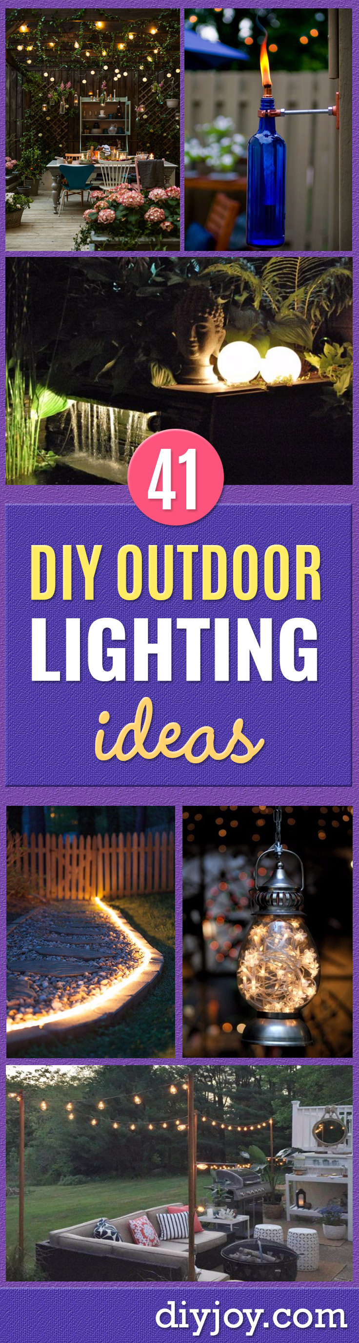 DIY Outdoor Lighting Ideas - Do It Yourself Lighting Ideas for the Backyard, Patio, Porch and Pool - Lights, Chandeliers, Lamps and String Lights for Your Outdoors - Dining Table and Chair Lighting, Overhead, Sconces and Weatherproof Projects - Walkway, Pool and Garden http://diyjoy.com/diy-outdoor-lighting-ideas