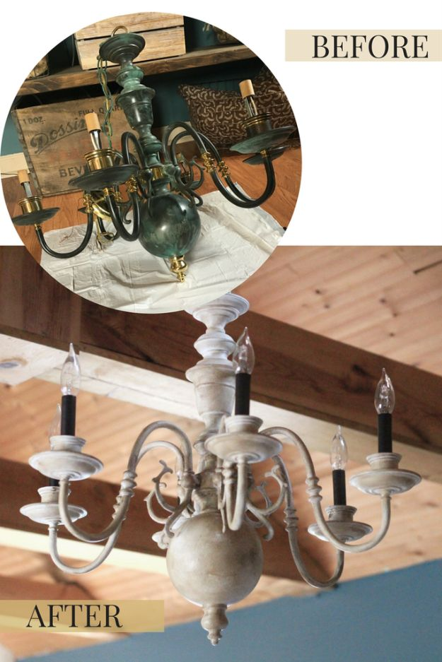 DIY Chandelier Makeovers - $5 Thrift Store Chandelier Makeover - Easy Ideas for Old Brass, Crystal and Ugly Gold Chandelier Makeover - Cool Before and After Projects for Chandeliers - Farmhouse, Shabby Chic and Vintage Home Decor on A Budget - Living Room, Bedroom and Dining Room Idea DIY Joy Projects and Crafts