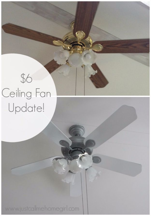 Cheap DIY Home Improvement Projects On A Budget - $6 Dollar Ceiling Fan Update - Cool Home Improvement Hacks, Easy and Cheap Do It Yourself Tutorials for Updating and Renovating Your House - Home Decor Tips and Tricks, Remodeling ideas